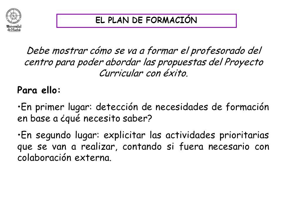 EL PLAN DE FORMACIÓN Debe mostrar cómo se va a formar el profesorado del centro para poder abordar las propuestas del Proyecto Curricular con éxito. P