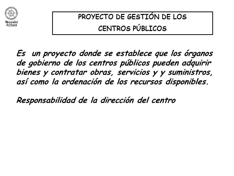 PROYECTO DE GESTIÓN DE LOS CENTROS PÚBLICOS Es un proyecto donde se establece que los órganos de gobierno de los centros públicos pueden adquirir bien