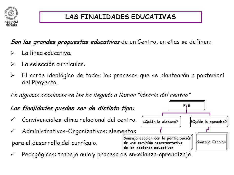 LAS FINALIDADES EDUCATIVAS Son las grandes propuestas educativas de un Centro, en ellas se definen: La línea educativa. La selección curricular. El co