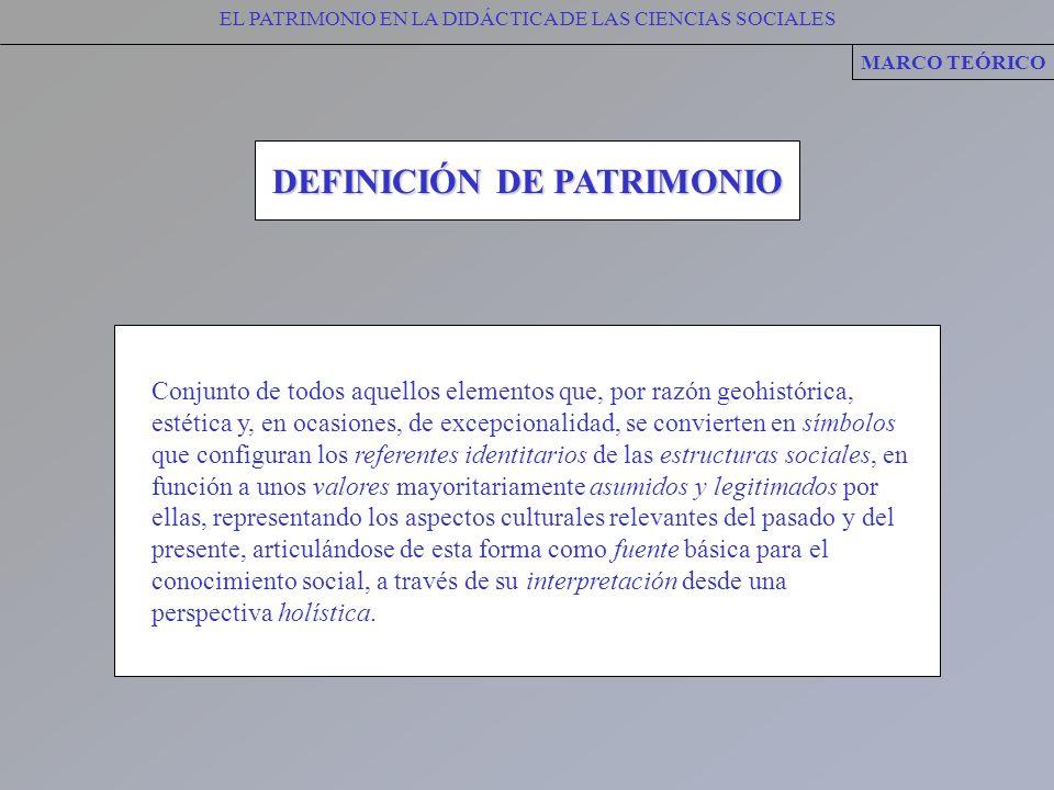 EL PATRIMONIO EN LA DIDÁCTICA DE LAS CIENCIAS SOCIALES DEFINICIÓN DE PATRIMONIO MARCO TEÓRICO Conjunto de todos aquellos elementos que, por razón geoh