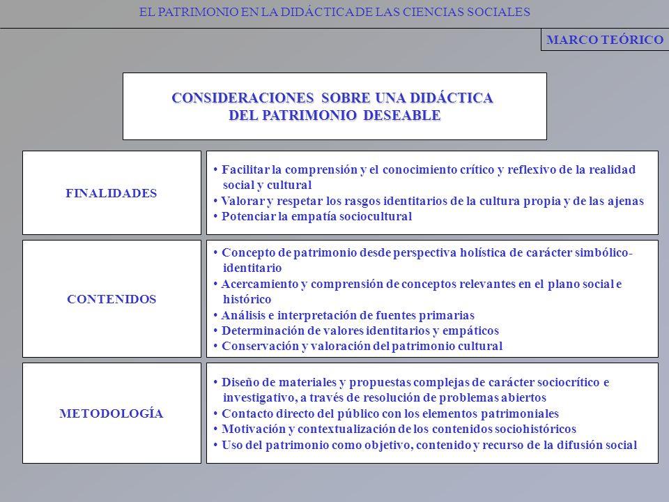 EL PATRIMONIO EN LA DIDÁCTICA DE LAS CIENCIAS SOCIALES MARCO TEÓRICO CONSIDERACIONES SOBRE UNA DIDÁCTICA DEL PATRIMONIO DESEABLE FINALIDADES Facilitar