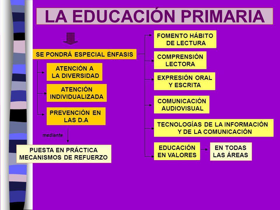 LA EDUCACIÓN PRIMARIA SE PONDRÁ ESPECIAL ÉNFASIS ATENCIÓN A LA DIVERSIDAD ATENCIÓN INDIVIDUALIZADA PREVENCIÓN EN LAS D.A PUESTA EN PRÁCTICA MECANISMOS
