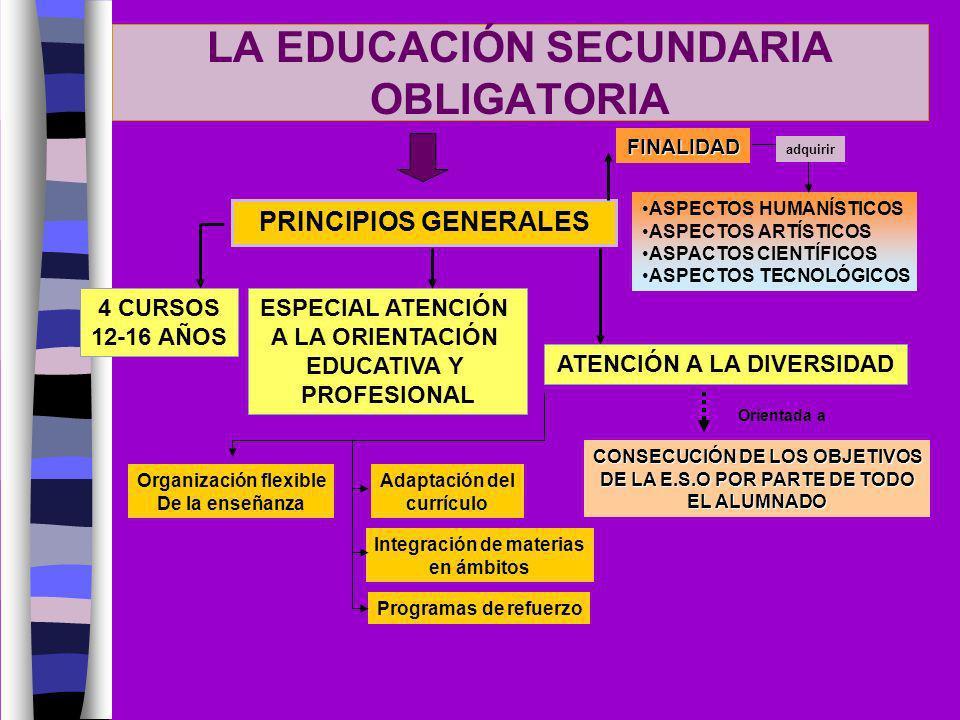 LA EDUCACIÓN SECUNDARIA OBLIGATORIA PRINCIPIOS GENERALES 4 CURSOS 12-16 AÑOS ESPECIAL ATENCIÓN A LA ORIENTACIÓN EDUCATIVA Y PROFESIONAL FINALIDAD ASPE