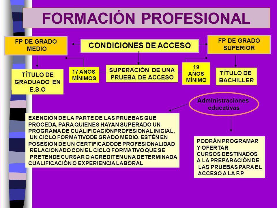 FORMACIÓN PROFESIONAL FP DE GRADO MEDIO FP DE GRADO SUPERIOR CONDICIONES DE ACCESO TÍTULO DE GRADUADO EN E.S.O TÍTULO DE BACHILLER SUPERACIÓN DE UNA P