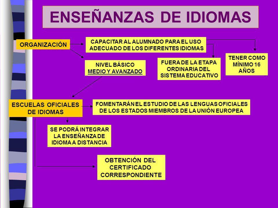 ENSEÑANZAS DE IDIOMAS ORGANIZACIÓN CAPACITAR AL ALUMNADO PARA EL USO ADECUADO DE LOS DIFERENTES IDIOMAS FUERA DE LA ETAPA ORDINARIA DEL SISTEMA EDUCAT