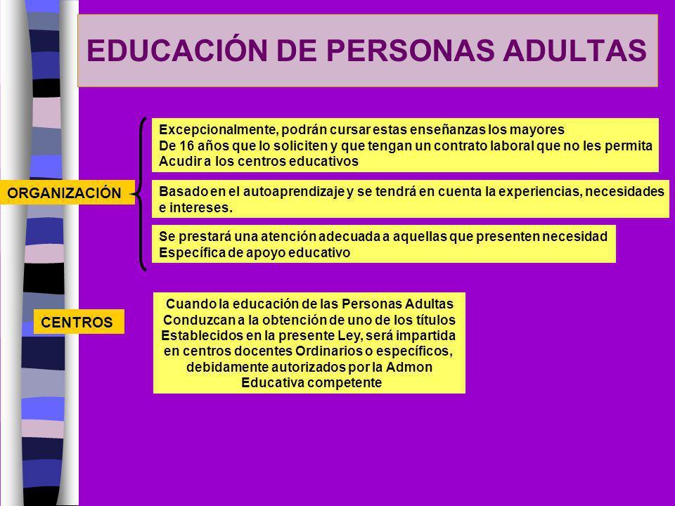 EDUCACIÓN DE PERSONAS ADULTAS ORGANIZACIÓN Excepcionalmente, podrán cursar estas enseñanzas los mayores De 16 años que lo soliciten y que tengan un co