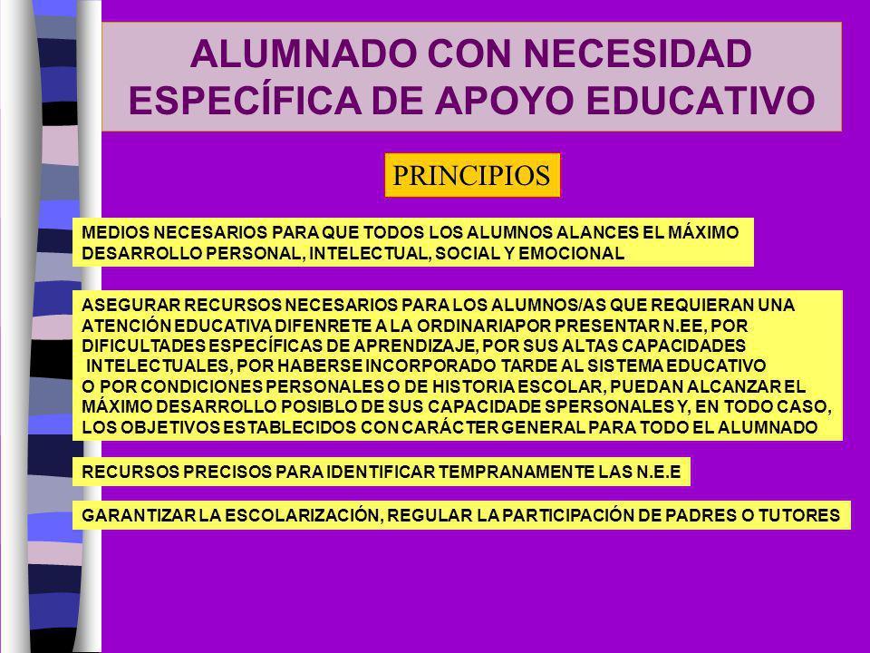 ALUMNADO CON NECESIDAD ESPECÍFICA DE APOYO EDUCATIVO PRINCIPIOS MEDIOS NECESARIOS PARA QUE TODOS LOS ALUMNOS ALANCES EL MÁXIMO DESARROLLO PERSONAL, IN