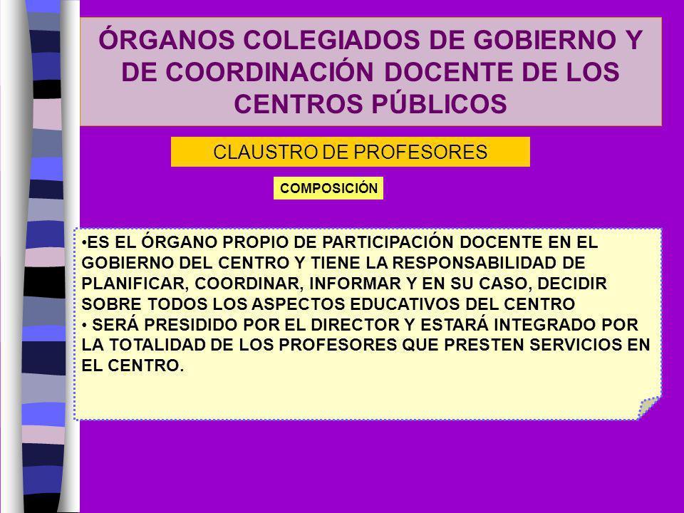 ÓRGANOS COLEGIADOS DE GOBIERNO Y DE COORDINACIÓN DOCENTE DE LOS CENTROS PÚBLICOS CLAUSTRO DE PROFESORES COMPOSICIÓN ES EL ÓRGANO PROPIO DE PARTICIPACI