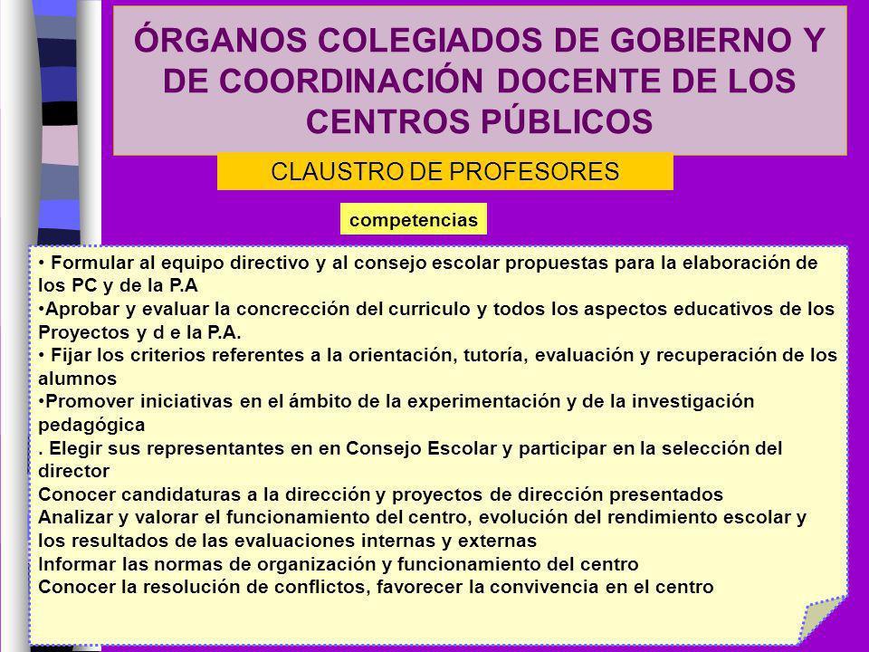 ÓRGANOS COLEGIADOS DE GOBIERNO Y DE COORDINACIÓN DOCENTE DE LOS CENTROS PÚBLICOS competencias CLAUSTRO DE PROFESORES Formular al equipo directivo y al