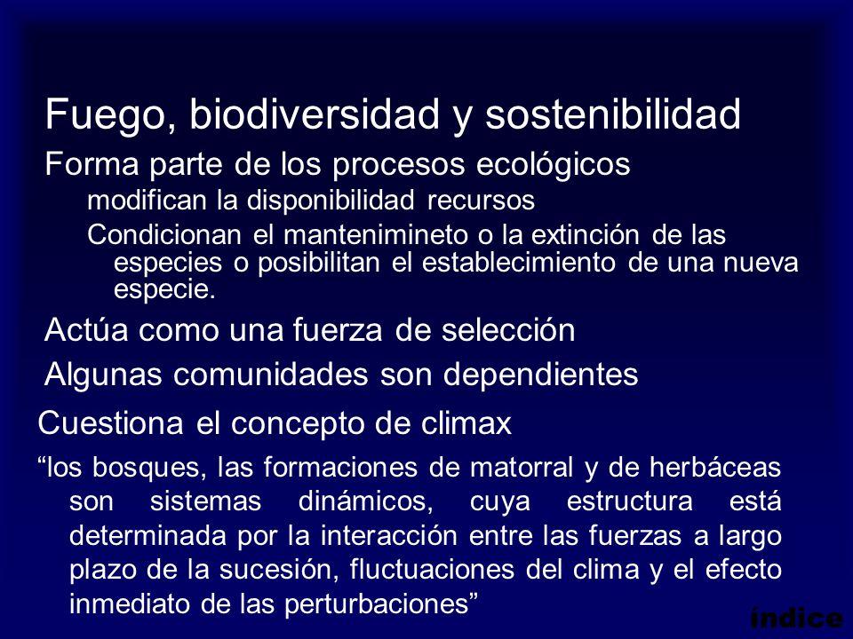 Fuego, biodiversidad y sostenibilidad Forma parte de los procesos ecológicos modifican la disponibilidad recursos Condicionan el mantenimineto o la ex