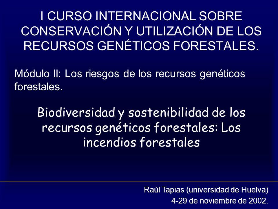 Biodiversidad y sostenibilidad de los recursos genéticos forestales: Los incendios forestales I CURSO INTERNACIONAL SOBRE CONSERVACIÓN Y UTILIZACIÓN D