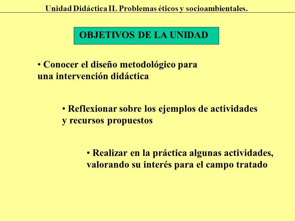 OBJETIVOS DE LA UNIDAD Conocer el diseño metodológico para una intervención didáctica Reflexionar sobre los ejemplos de actividades y recursos propues