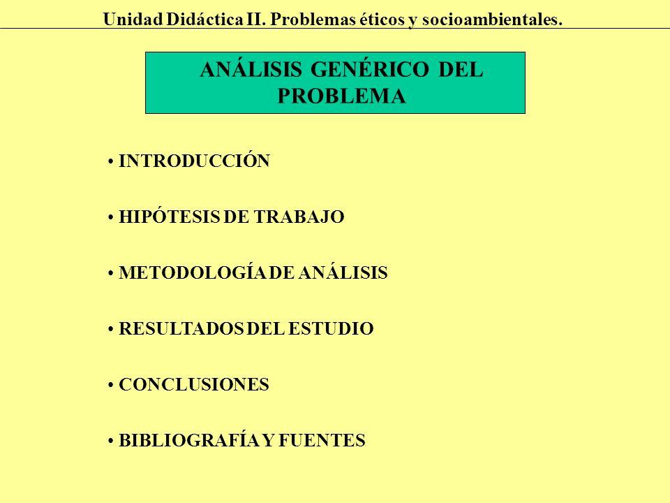 ANÁLISIS GENÉRICO DEL PROBLEMA INTRODUCCIÓN METODOLOGÍA DE ANÁLISIS RESULTADOS DEL ESTUDIO CONCLUSIONES BIBLIOGRAFÍA Y FUENTES HIPÓTESIS DE TRABAJO Un