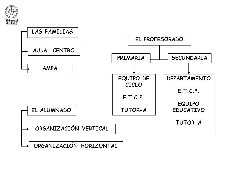 EL ALUMNADO ORGANIZACIÓN VERTICAL ORGANIZACIÓN HORIZONTAL EQUIPO DE CICLO E.T.C.P. TUTOR-A AMPA DEPARTAMENTO E.T.C.P. EQUIPO EDUCATIVO TUTOR-A AULA- C