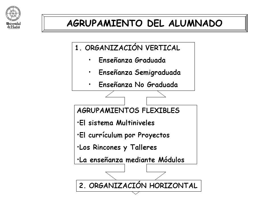 AGRUPAMIENTO DEL ALUMNADO AGRUPAMIENTOS FLEXIBLES El sistema Multiniveles El currículum por Proyectos Los Rincones y Talleres La enseñanza mediante Mó