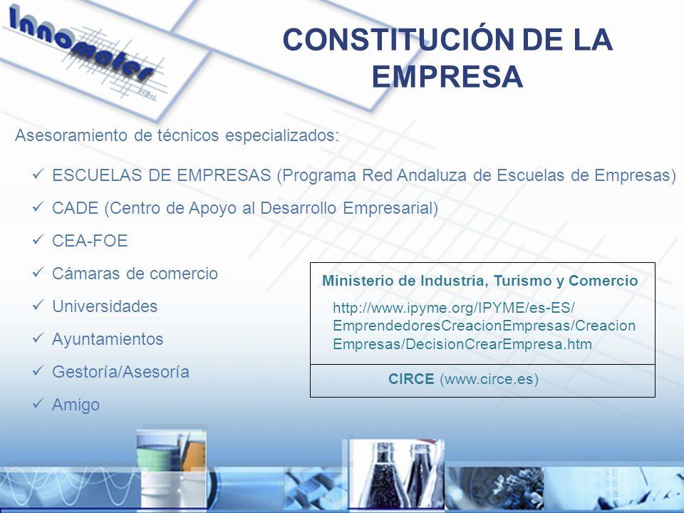 CONSTITUCIÓN DE LA EMPRESA Asesoramiento de técnicos especializados: ESCUELAS DE EMPRESAS (Programa Red Andaluza de Escuelas de Empresas) CADE (Centro