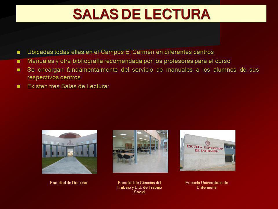 SALAS DE LECTURA Ubicadas todas ellas en el Campus El Carmen en diferentes centros Ubicadas todas ellas en el Campus El Carmen en diferentes centros M