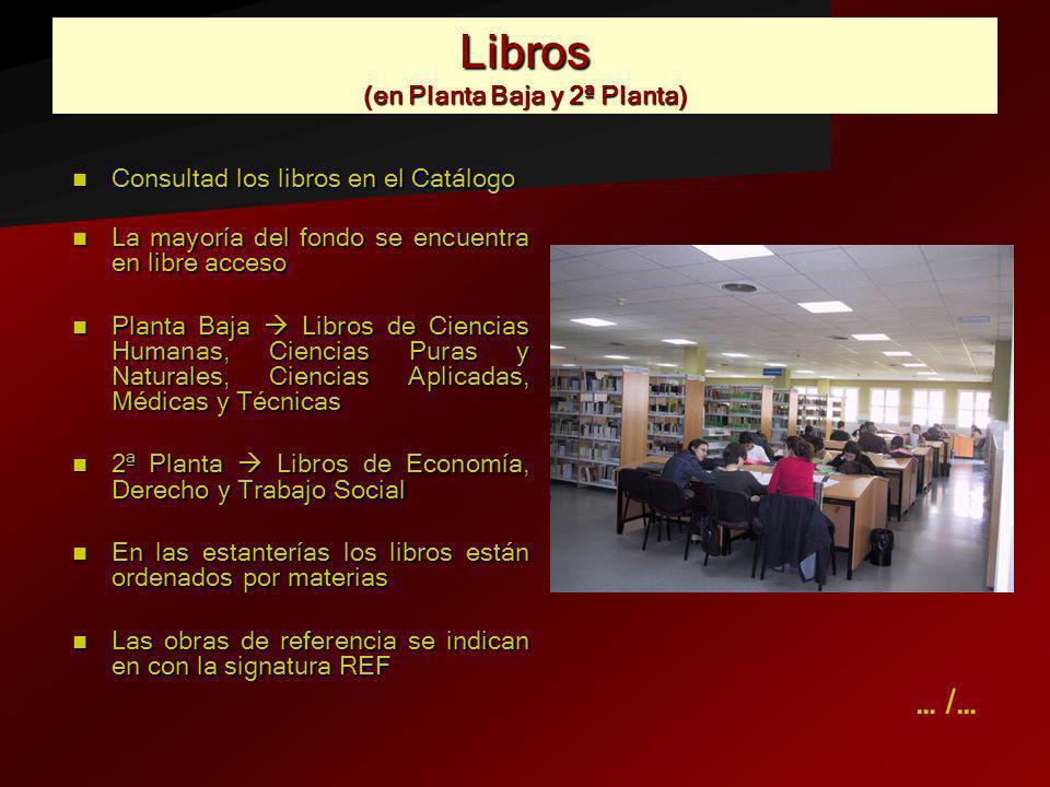 Libros (en Planta Baja y 2ª Planta) Consultad los libros en el Catálogo Consultad los libros en el Catálogo La mayoría del fondo se encuentra en libre