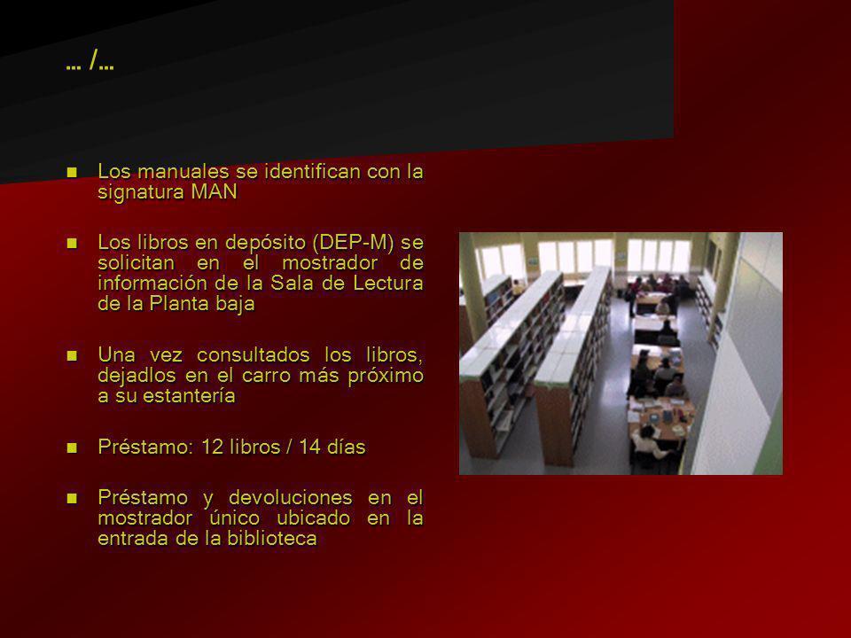 Los manuales se identifican con la signatura MAN Los manuales se identifican con la signatura MAN Los libros en depósito (DEP-M) se solicitan en el mo