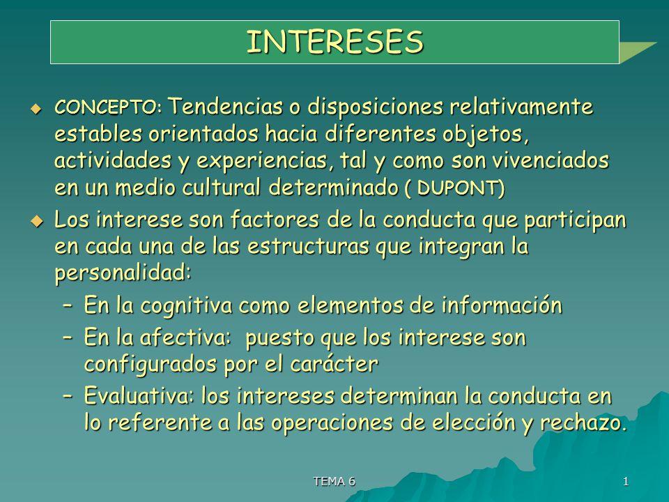 TEMA 6 1 INTERESES CONCEPTO: Tendencias o disposiciones relativamente estables orientados hacia diferentes objetos, actividades y experiencias, tal y