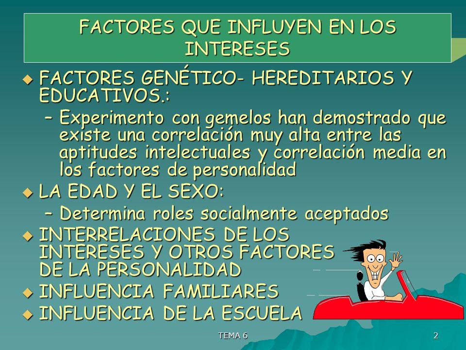TEMA 6 2 FACTORES QUE INFLUYEN EN LOS INTERESES FACTORES GENÉTICO- HEREDITARIOS Y EDUCATIVOS.: FACTORES GENÉTICO- HEREDITARIOS Y EDUCATIVOS.: –Experim