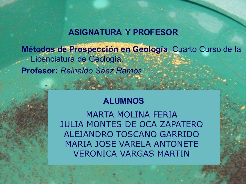 ASIGNATURA Y PROFESOR Métodos de Prospección en Geología, Cuarto Curso de la Licenciatura de Geología. Profesor: Reinaldo Sáez Ramos MARTA MOLINA FERI