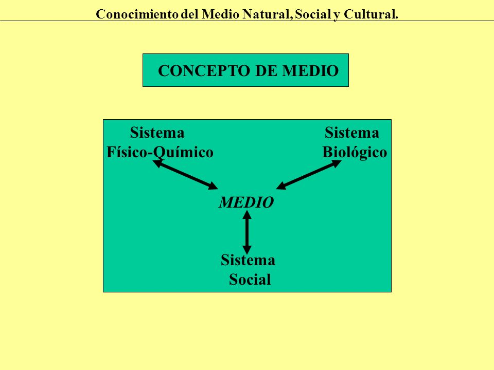 CONCEPTO DE MEDIO Conocimiento del Medio Natural, Social y Cultural. Sistema Físico-Químico Sistema Biológico Sistema Social MEDIO