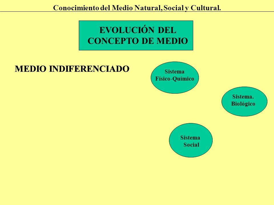EVOLUCIÓN DEL CONCEPTO DE MEDIO Conocimiento del Medio Natural, Social y Cultural. MEDIO INDIFERENCIADO Sistema Físico-Químico Sistema. Biológico Sist