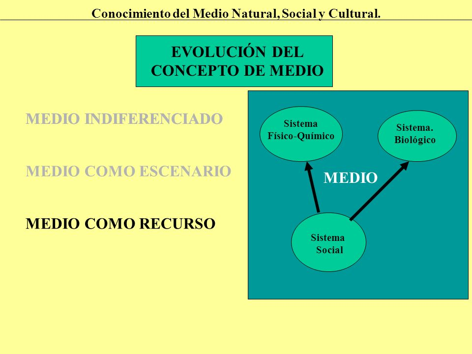 EVOLUCIÓN DEL CONCEPTO DE MEDIO Conocimiento del Medio Natural, Social y Cultural. MEDIO INDIFERENCIADO MEDIO COMO ESCENARIO MEDIO COMO RECURSO Sistem
