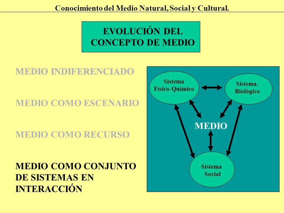 EVOLUCIÓN DEL CONCEPTO DE MEDIO Conocimiento del Medio Natural, Social y Cultural. MEDIO INDIFERENCIADO MEDIO COMO ESCENARIO MEDIO COMO RECURSO MEDIO