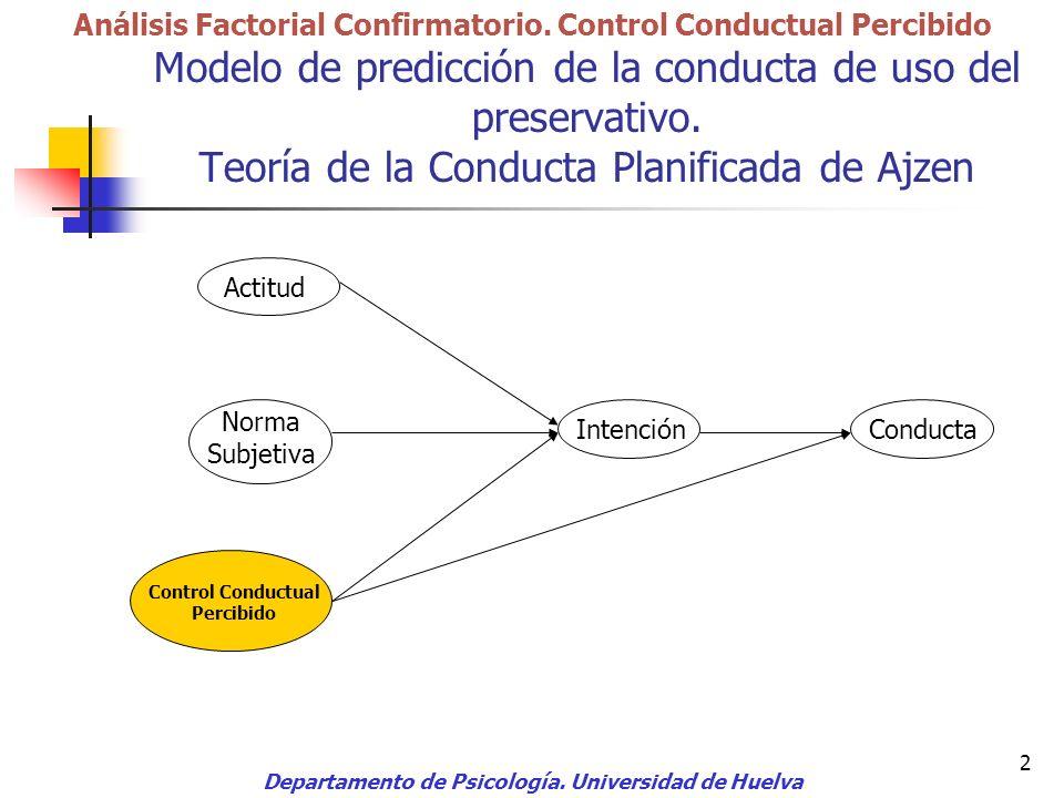 2 Modelo de predicción de la conducta de uso del preservativo. Teoría de la Conducta Planificada de Ajzen Departamento de Psicología. Universidad de H