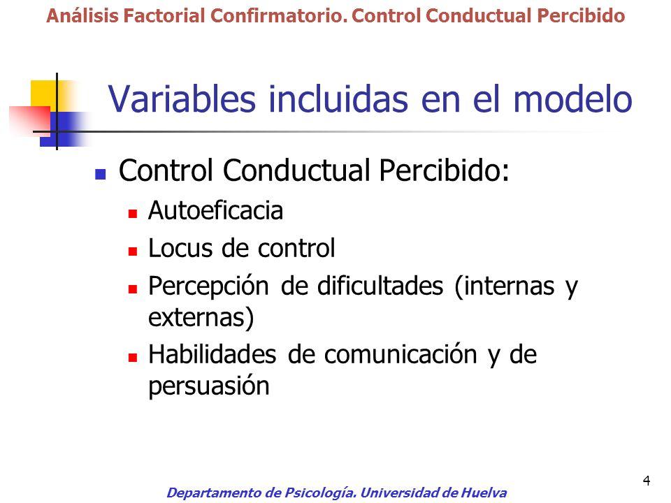 4 Variables incluidas en el modelo Control Conductual Percibido: Autoeficacia Locus de control Percepción de dificultades (internas y externas) Habili