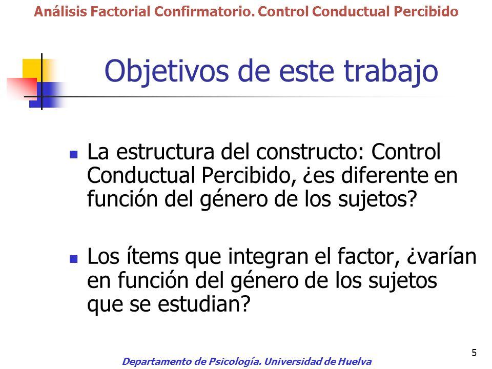 5 Objetivos de este trabajo La estructura del constructo: Control Conductual Percibido, ¿es diferente en función del género de los sujetos? Los ítems