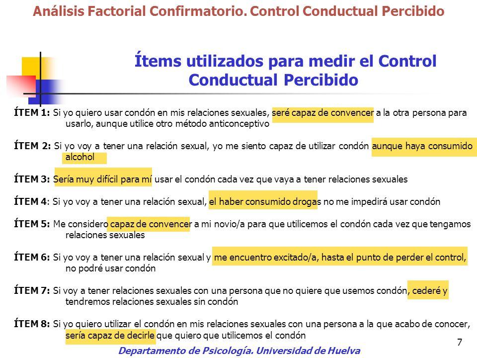7 Departamento de Psicología. Universidad de Huelva Análisis Factorial Confirmatorio. Control Conductual Percibido Ítems utilizados para medir el Cont