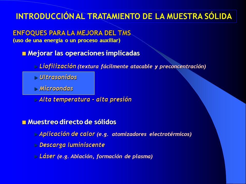 Muestreo directo de sólidos Muestreo directo de sólidos Mejorar las operaciones implicadas Mejorar las operaciones implicadas Liofilización (textura f