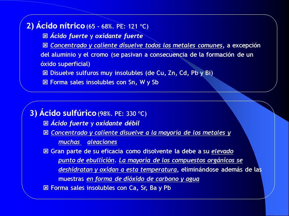 3) Ácido sulfúrico (98%. PE: 330 ºC) Ácido fuerte y oxidante débil Concentrado y caliente disuelve a la mayoría de los metales y muchas aleaciones Gra