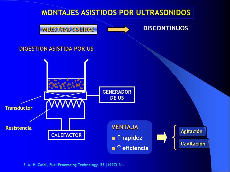 DISCONTINUOS MUESTRAS SÓLIDAS DIGESTIÓN ASISTIDA POR US VENTAJA rapidez eficiencia CALEFACTOR GENERADOR DE US Transductor Resistencia Agitación Cavita