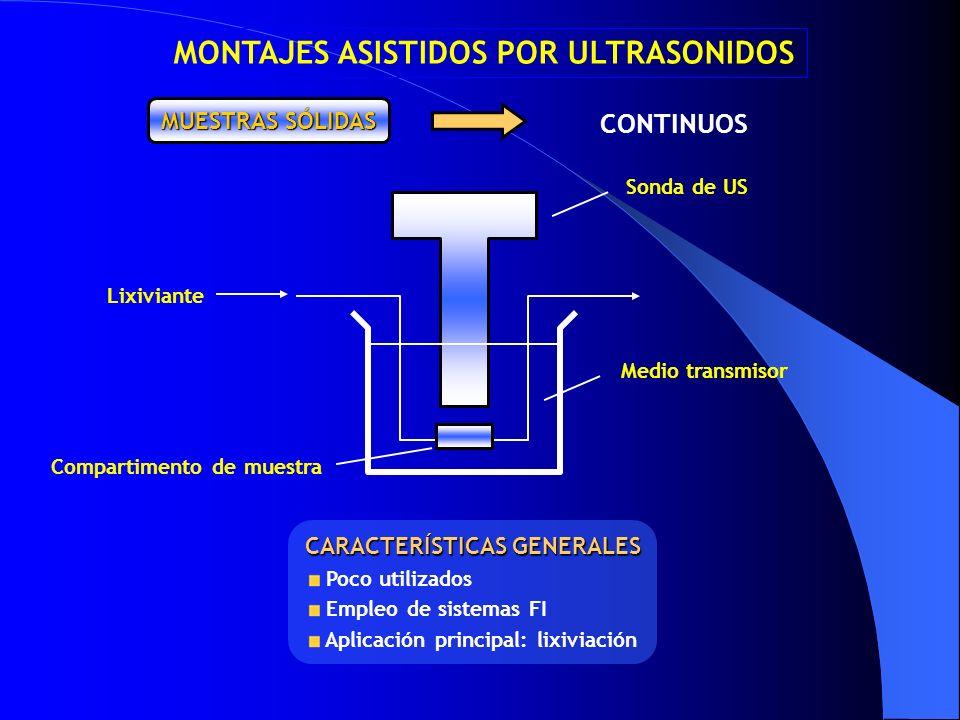 CONTINUOS MUESTRAS SÓLIDAS MONTAJES ASISTIDOS POR ULTRASONIDOS CARACTERÍSTICAS GENERALES Poco utilizados Empleo de sistemas FI Aplicación principal: l