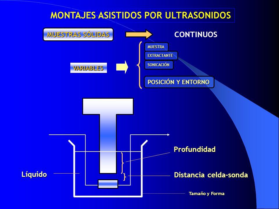 CONTINUOS VARIABLES POSICIÓN Y ENTORNO Profundidad Distancia celda-sonda Líquido MONTAJES ASISTIDOS POR ULTRASONIDOS MUESTRAS SÓLIDAS Tamaño y Forma M
