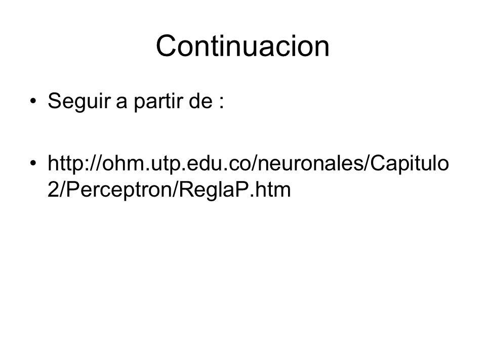 Continuacion Seguir a partir de : http://ohm.utp.edu.co/neuronales/Capitulo 2/Perceptron/ReglaP.htm
