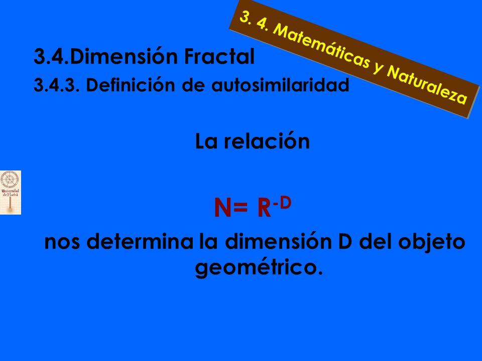 3.4.Dimensión Fractal 3.4.3. Definición de autosimilaridad 4 cuadrados de tamaño 1/2:N=4, R=1/2; (1/2) -2 =4 16 cuadrados de tamaño 1/4:N=16, R=1/4; (