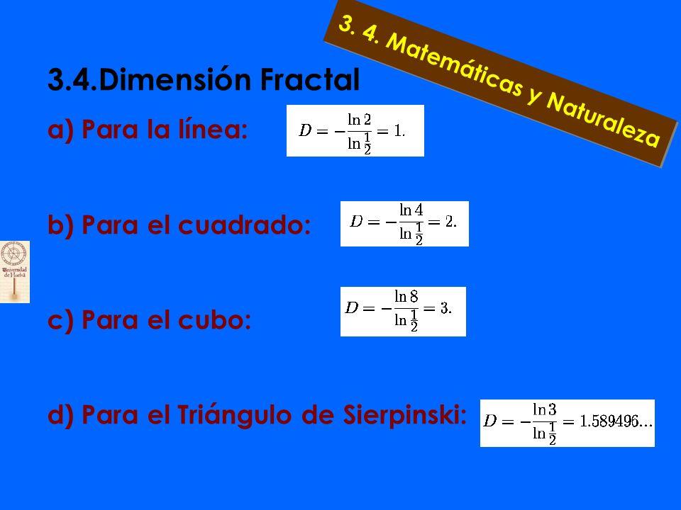 3.4.Dimensión Fractal 3.4.3. Definición de autosimilaridad Así la dimensión de autosimilaridad D de un objeto, hecho de N copias exactas a él mismo y