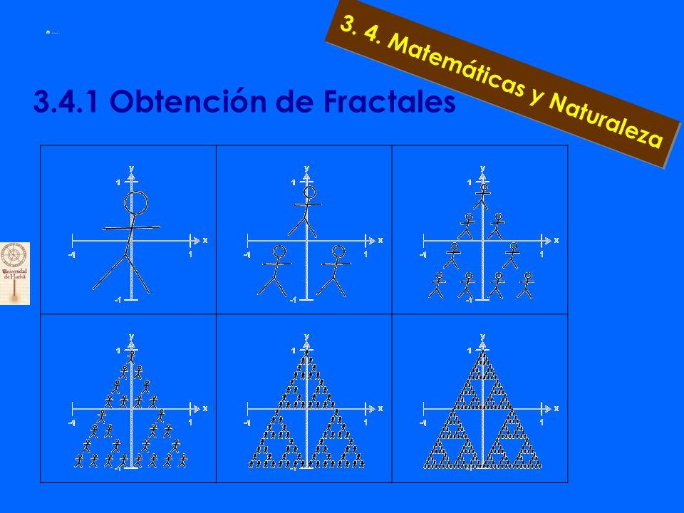 3.4. Método de Obtención de fractales 3. 4. Matemáticas y Naturaleza Observa el monigote inicial Llamémoslo semilla inicial. Sobre él vamos a ejercer
