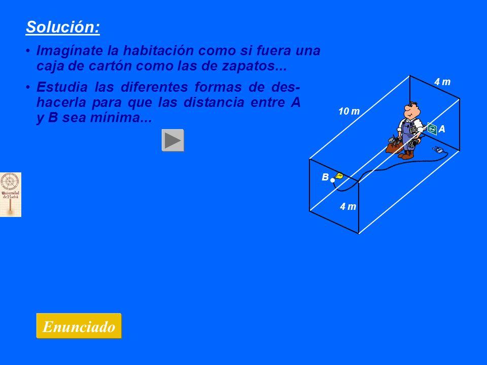 Solución: Imagínate la habitación como si fuera una caja de cartón como las de zapatos... Enunciado 10 m 4 m B A