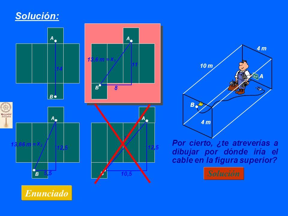 Solución: Enunciado 10 m 4 m B A A A A A B B B B 11 8 14 12,5 10,5 x1x1 x2x2 x3x3 ¿Cuál de los otros es el mejor.