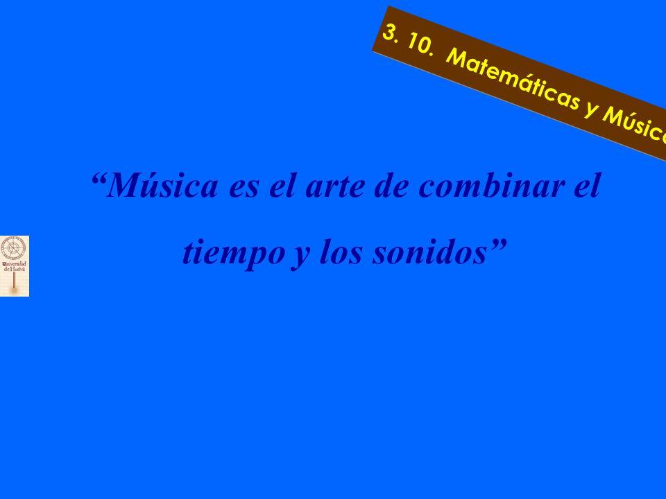 3.10. Matemáticas y Música a) Escalas mediante números racionales e irracionales b) Sonidos como vectores c) Distancia entre sonidos 3. 10. Matemática