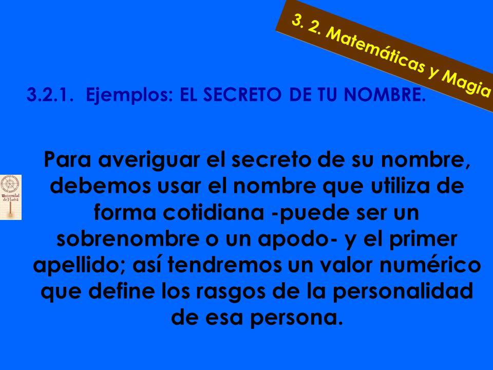3.2.1. Ejemplos: EL SECRETO DE TU NOMBRE. ¡Dime como te llamas y te diré como eres! 3. 2. Matemáticas y Magia