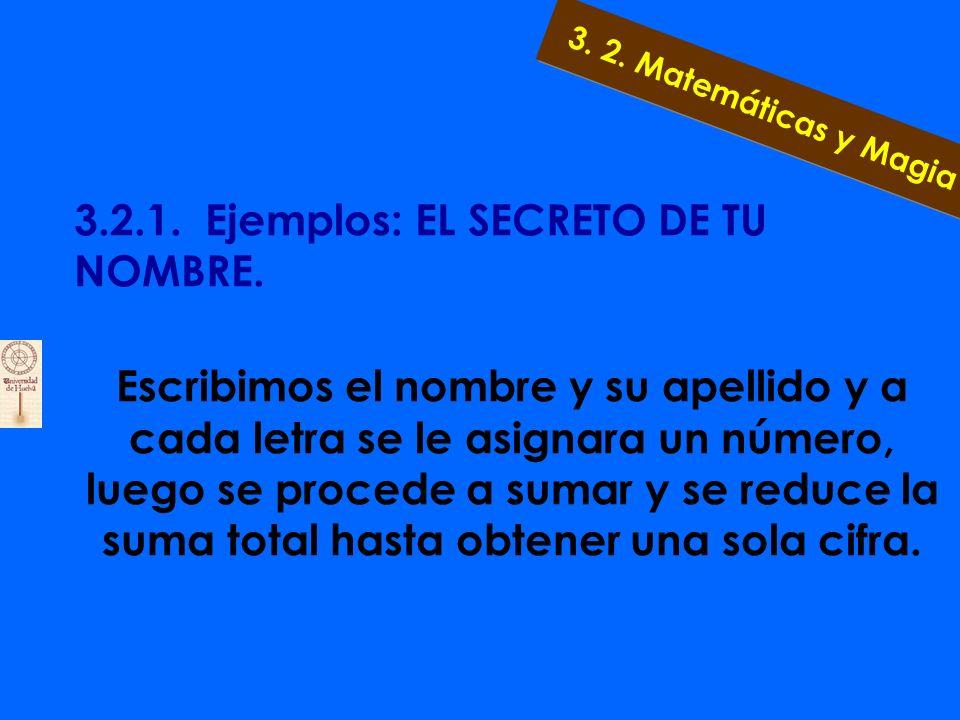3.2.1. Ejemplos: EL SECRETO DE TU NOMBRE. Para averiguar el secreto de su nombre, debemos usar el nombre que utiliza de forma cotidiana -puede ser un