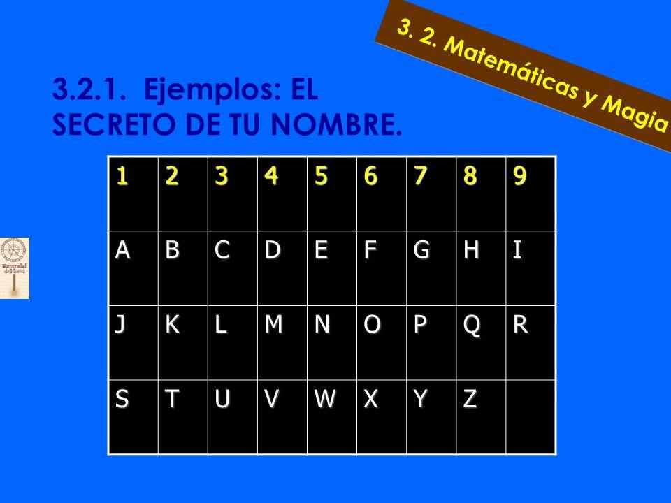 3.2.1. Ejemplos: EL SECRETO DE TU NOMBRE. Escribimos el nombre y su apellido y a cada letra se le asignara un número, luego se procede a sumar y se re