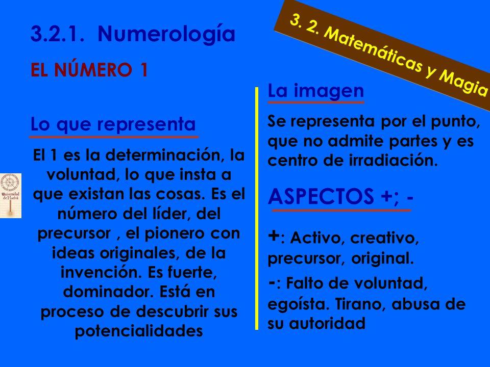 3.2.1. Numerología EL NÚMERO 0 Lo que representa Representa lo que no es pero puede ser, o lo que ya ha sido. Puesto a la izquierda de cualquier númer